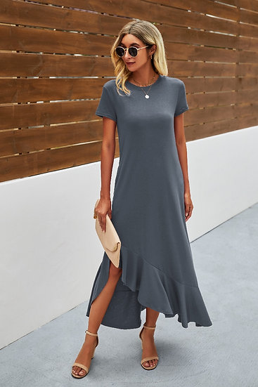 All Day Adventures Grey Blue Maxi Dress