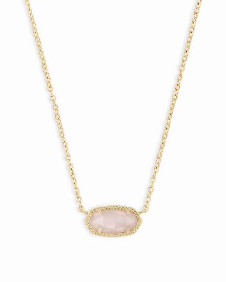 Elisa Gold Pendant Necklace In Rose Quartz