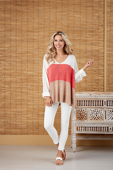 Always Getting Better Coral/Tan Colorblock Sweater