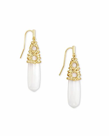 Natalie Gold Drop Earrings In White Mussel