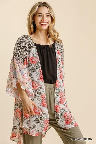 See You Soon Off White Mix Floral / Animal Print Kimono