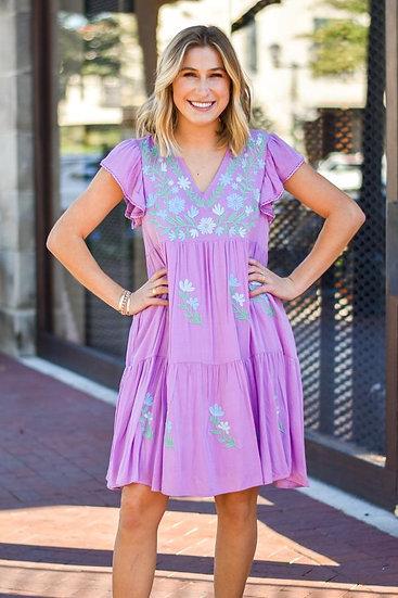 The Kris Dress - Lavender/ Mint & Blue Embroidery