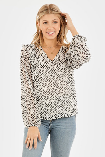 White With Black Dot Long-sleeve V-Neck Top