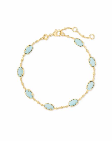 Emilie Gold Chain Bracelet In Light Blue Magnesite