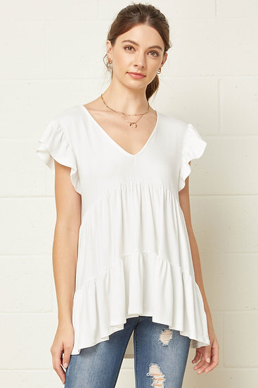 At This Level Ivory Babydoll Top