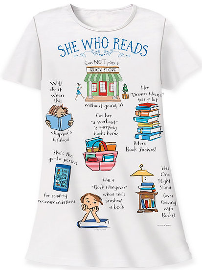 She Who Reads Sleep Shirt