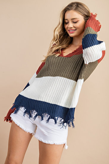 City Of Angels Color Block Sweater - Olive/ Ivory Mix
