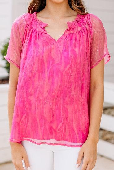 Feeling Free Magenta Pink Blouse