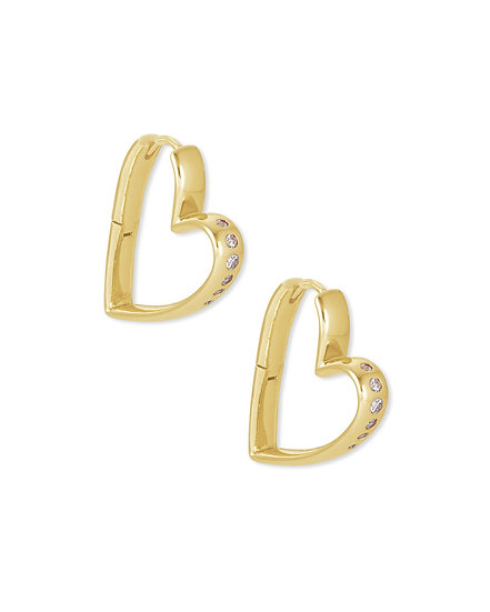 Ansley Small Hoop Earring Gold Metal White CZ