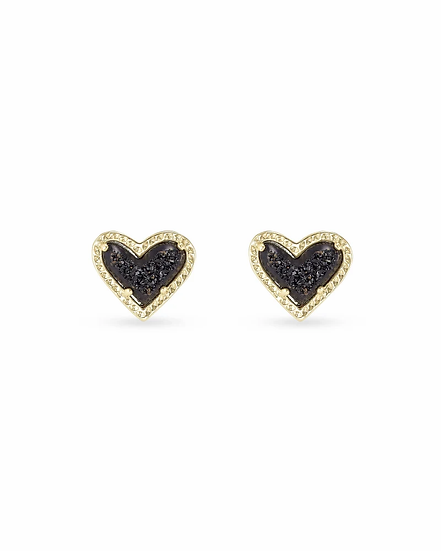 Ari Heart Gold Stud Earrings In Black Drusy