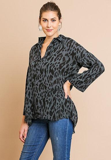 Charcoal Animal Print Long Sleeve V-Neck Collared Tunic W/ High Low Frayed Hem