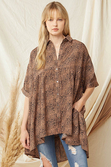Feeling Wild Brown Spotted Tunic
