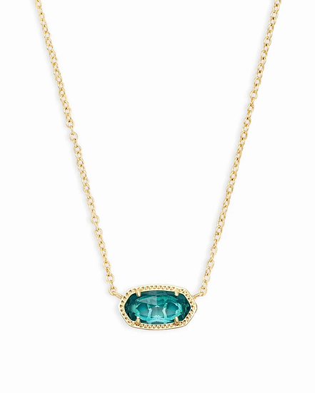Elisa Gold Pendant Necklace In London Blue - DECEMBER
