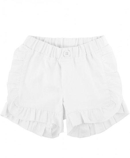 White Ruffle Trim Chino Shorts