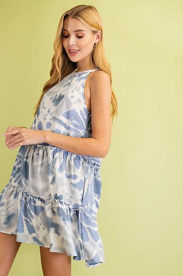 Summer Dreaming Blue Tie Dye Dress