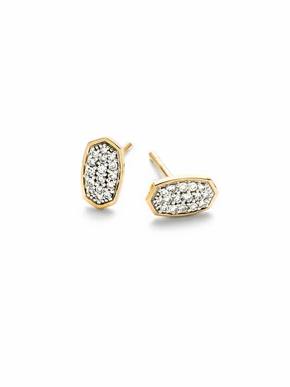Marisa Stud Earrings In White Diamond And 14k Yellow Gold