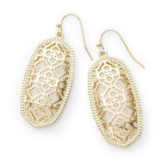 Elle Gold Drop Earrings In Gold Filigree Mix