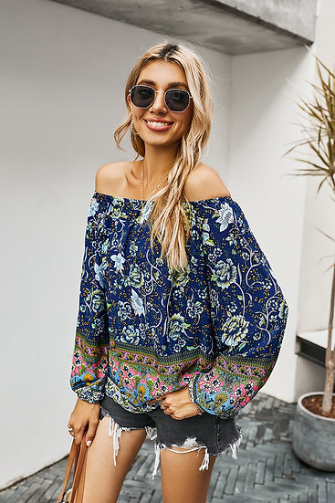 Uniquely Me Floral Off The Shoulder Top - Navy