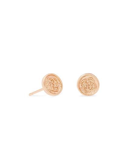 Dira Coin Stud Earrings In RSG Metal