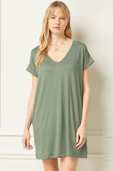 Off To A Good Start Army Green T-shirt Dress
