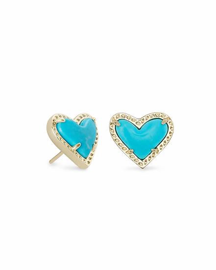 Ari Heart Gold Stud Earrings In Turquoise Magnesite