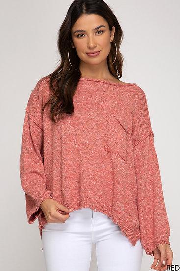 Ask Me Later Coral Confetti Sweater