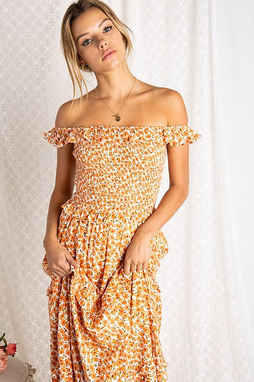 Take The Stage Tangerine Floral Midi Dress