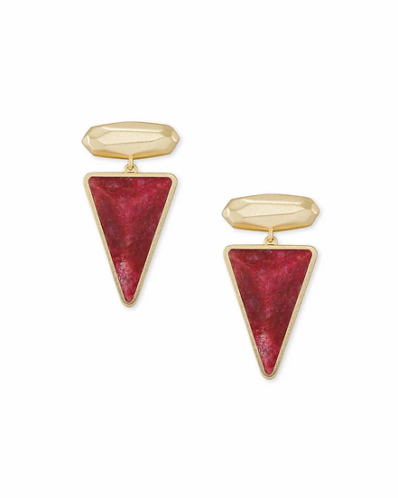 Vivian Gold Drop Earrings In Raspberry Labradorite
