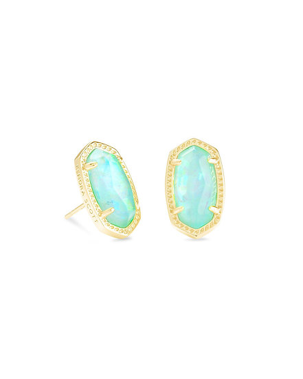 Ellie Gold Stud Earrings In Iridescent Mint Illusion
