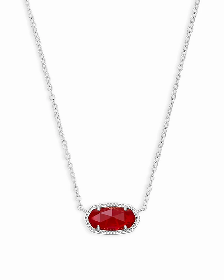 Elisa Silver Pendant Necklace In Ruby Red - JULY