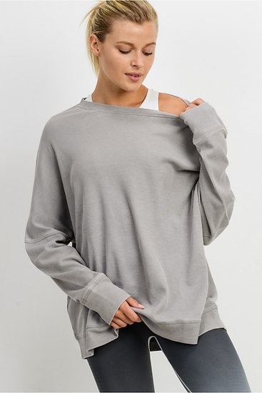 Waffle Ribbed Roundneck Pullover - Light Grey