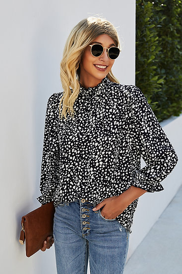 Get Their Attention Black Printed Top