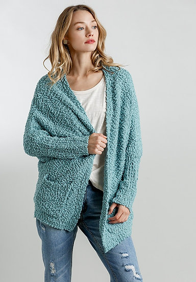 Sage/Mint Open Front Oversized Cardigan Sweater With Pockets