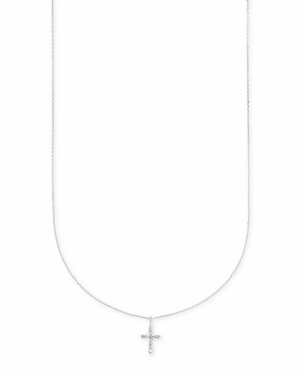 Cross 14k White Gold Pendant Necklace In White Diamonds