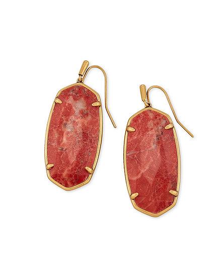 Faceted Elle Vintage Gold Drop Earrings In Burnt Sienna Howlite