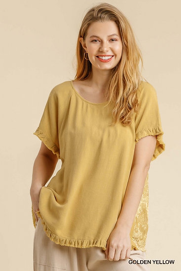 Divine Details Golden Yellow Lace Party In The Back Top