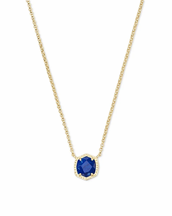 Davie Gold Pendant Necklace In Cobalt Howlite