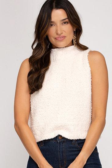 Cuddle Weather Knit Turtleneck Sleeveless Sweater - Cream