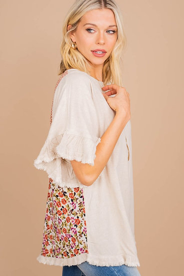 It's All On You Oatmeal Brown Ditsy Floral Top