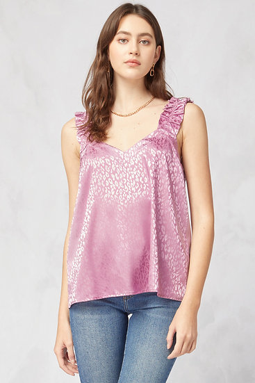 Waiting To Pounce Ruffle Blouse - Pink Panther