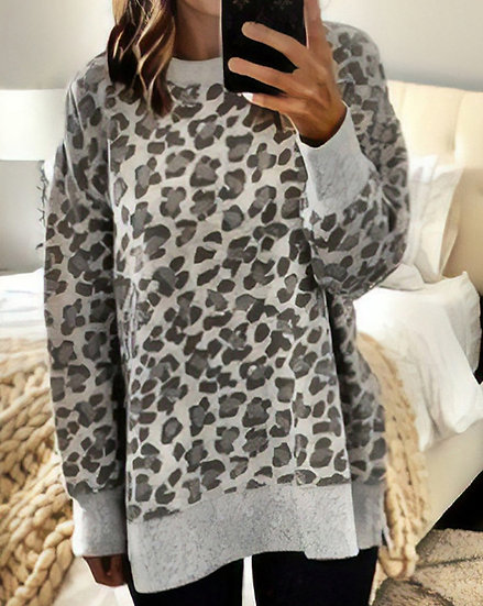 Our Caught In A Blizzard Leopard Sweatshirt - Grey