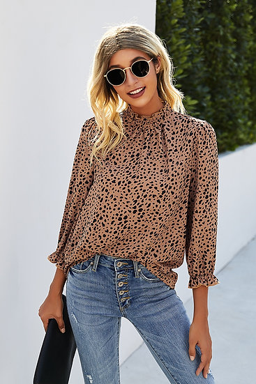 Get Their Attention Brown Printed Top