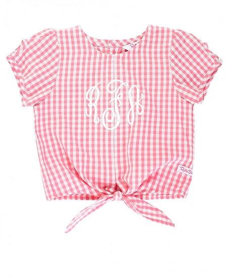 Rose Gingham Tie Top W/ Denim Ruffle Shorts