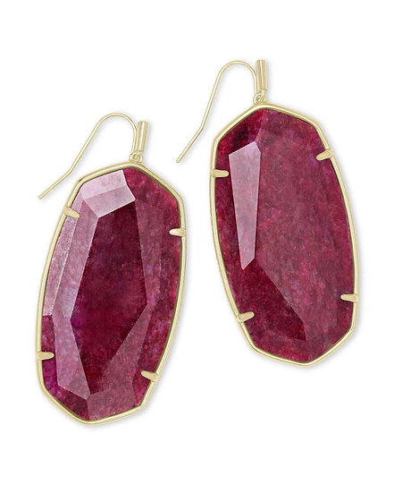 Faceted Danielle Gold Statement Earrings In Raspberry Labradorite