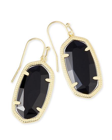 Dani Gold Drop Earrings In Black