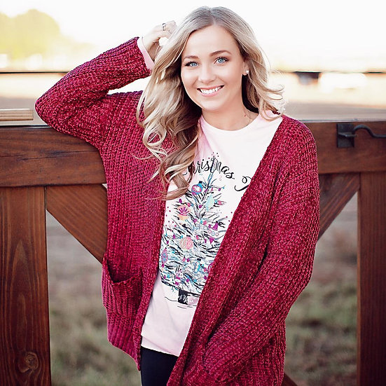 Pink Thermal Oh Christmas Tree Graphic Long Sleeve Tee