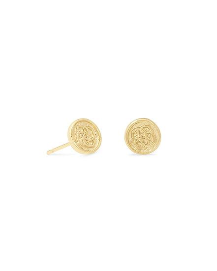 Dira Coin Stud Earrings In Gold Metal