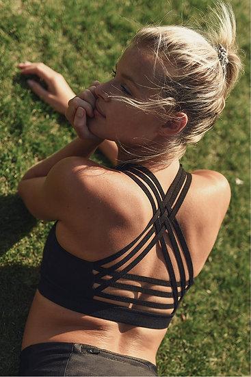 Interlock Criss-Cross Back Strap Sports Bra - Black