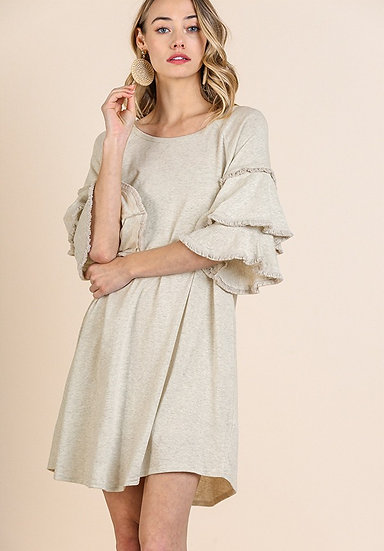 Oatmeal Round Neck Double Ruffle Dress