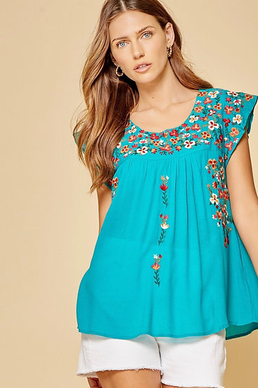 Wild Flower Teal Embroidered Top